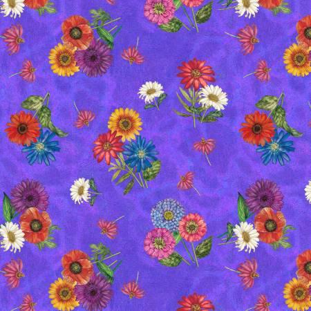 Purple Bloom Bouquets 100% Cotton 42-44 Wide