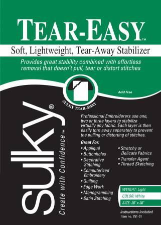 Tear Easy Tear-Away Stablizer White 20in x 1yd