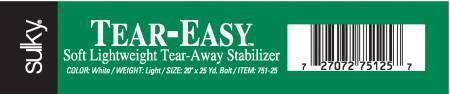 Tear Easy Tear-Away Stabilizer White 20in