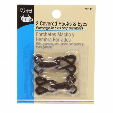 Covered Hooks & Eyes Brown 2ct