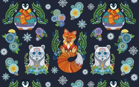Arctic Wonderland - Navy Large Animals Panel