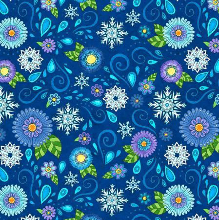 Dark Blue Flower & Snowflake Toss