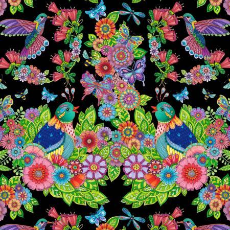 Rainbow Flight -- 77639-974 Black Large Animals & Flowers