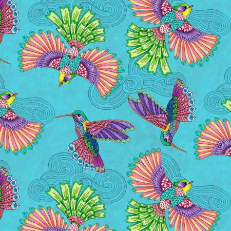 Rainbow Flight -- Teal Birds Allover