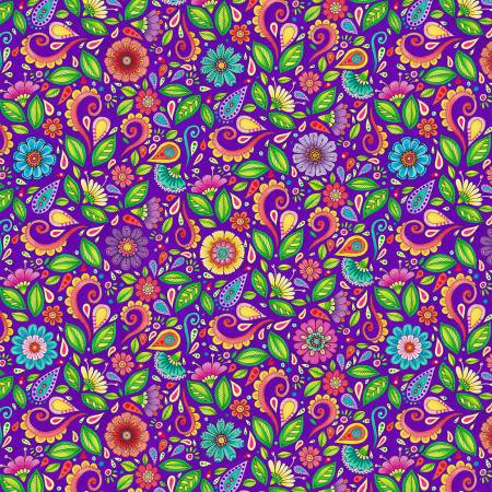 Rainbow Flight -- 77644-675 Purple Small Floral & Scroll