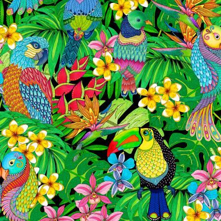 Wilmington Tropical Flair Jungle Birds - Black/Multi