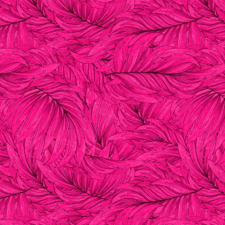 Wilmington Tropical Flair Leaf Texture - Hot Pink