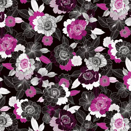 *Black/Berry Midnight Blooms Pearlized