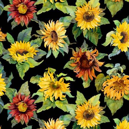 Black Large Sunflowers