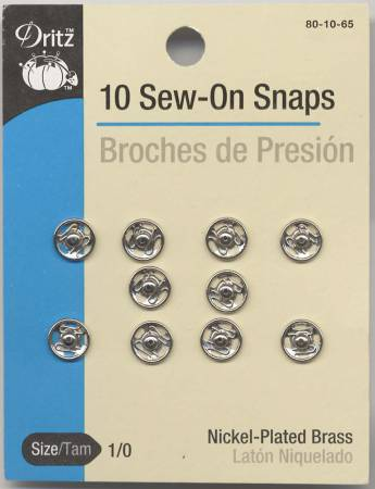 Snap Sew-On Size 1/0 Nickel