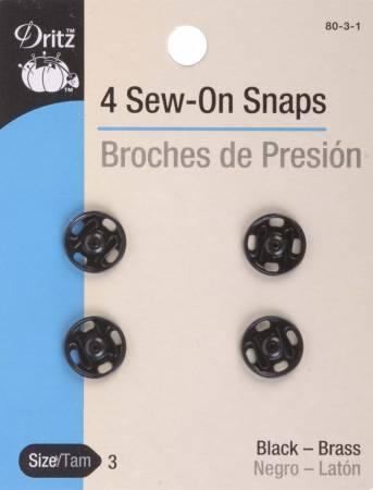 Snap Sew-On Size 3 Black