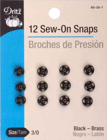Snap Sew-On Size 3/0 Black