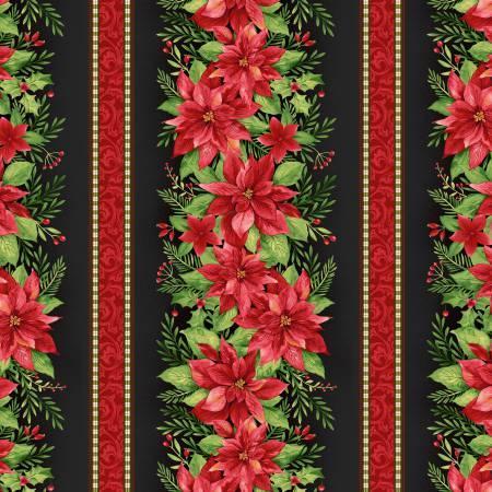 :Black Poinsettia Stripe by Maywood 8132M - J