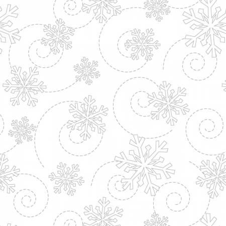 FAB KB BASICS SNOWFLAKES WHITE ON WHITE