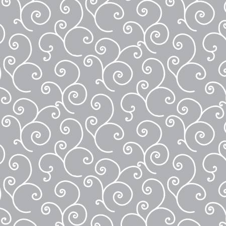 Kimberbell Scroll Fabric: Grey
