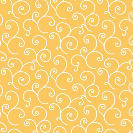 1 Yd. Remnant Kimberbell Basics Yellow Scroll Fabric