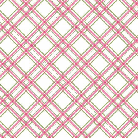 3/4 Yd. Remnant Kimberbell Basics Pink/Green Diagonal Plaid Fabric