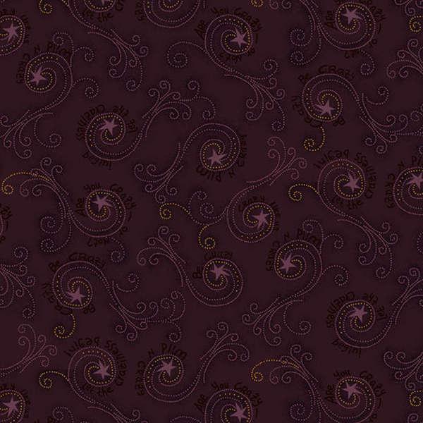 Crazy Like Us by Buggy Barn Purple Swirly Stars Fabric Yardage 8246-55