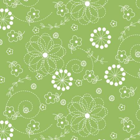 Kimberbell Basics Green Doodles Fabric