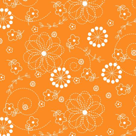 Kimberbell Doodles Fabric: Orange