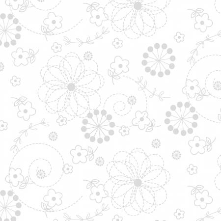 Kimberbell Basics - White on White Doodles - by Kimberbell for Maywood Studios