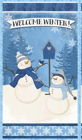 Welcome Winter Snowman Panel 24x 44