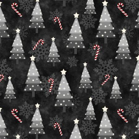 Snowy Wishes Black Snow Tree Toss 82571-991