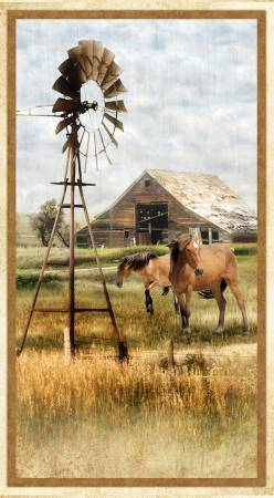 Wilmington - Greener Pastures- Windmill-Horse-Barn PANEL - 82629-247  -  W10