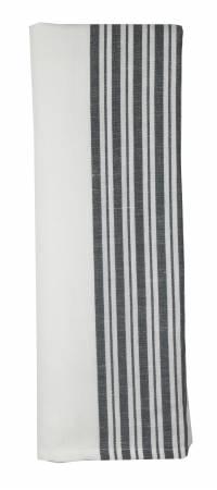 Cotton Linen  Stripe Charcoal/White