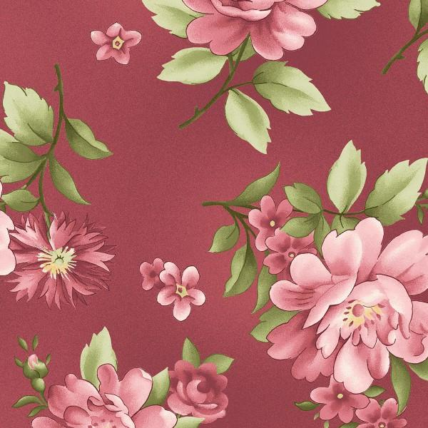 Maywood Studio Graceful Moments Fabric 8320P Large Burgundy Floral