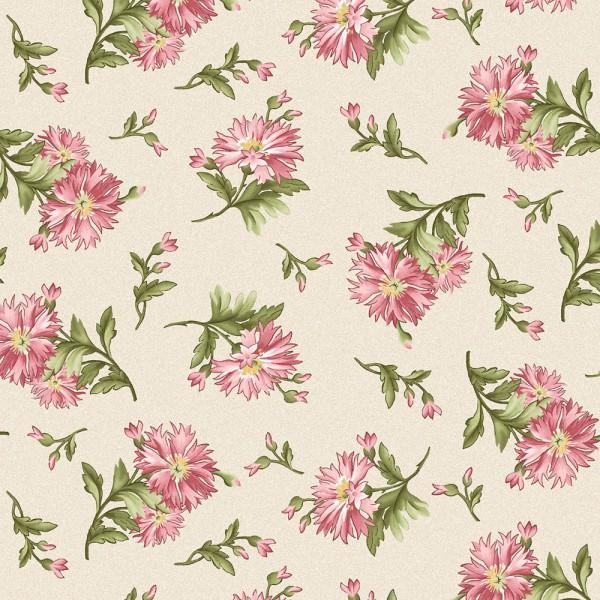 Maywood Studio Graceful Moments Fabric 8322-E Small Ecru Floral