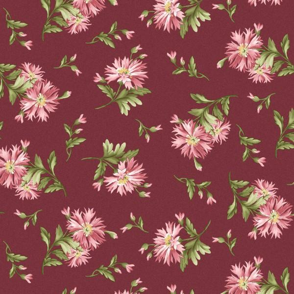 Maywood Studio Graceful Moments Fabric 8322-P Small Burgundy Floral