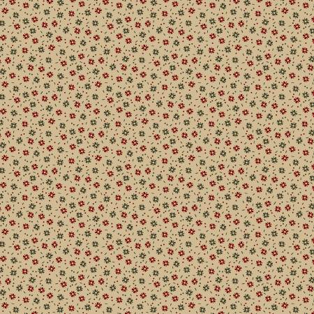 Circa Prairie Shirting Natural Background with Green & Red Flowers R17 8346 0547