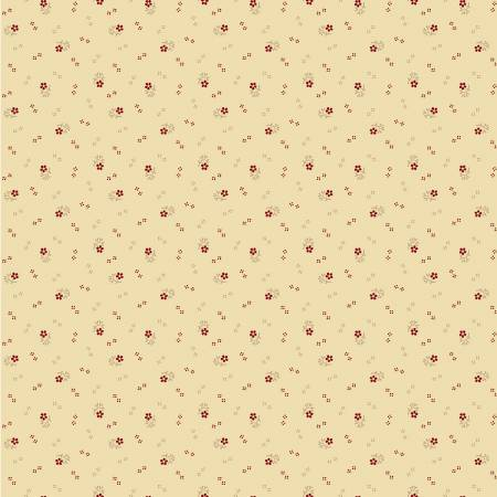 Circa Prairie Shirting Cream Background with Red Flowers R17 8348 0542