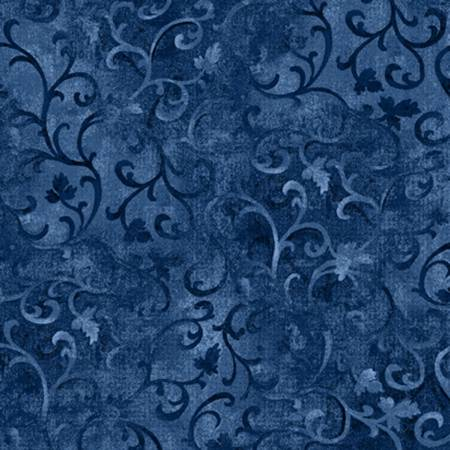 Navy Scroll Flannel 108in Wide Backing WP021519