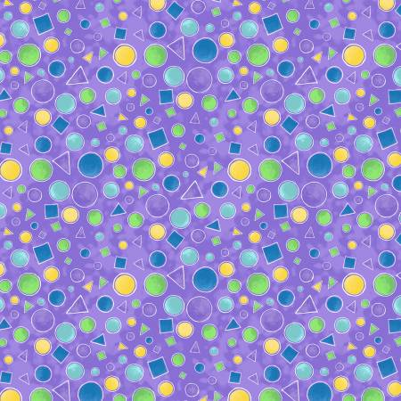 Wilmington Prints Catmosphere Purple Circles & Triangles