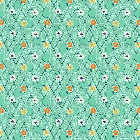 Green Criss Cross Flowers 1930's Reproduction