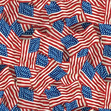LIBERTY LANE Multi Patriotic Packed Flags