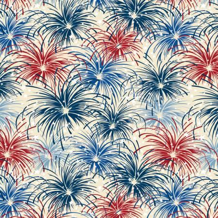 Cream Patriotic Fireworks - Liberty Lane by Wilmington Prints