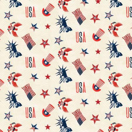 Cream Patriotic Toss - Liberty Lane by Wilmington Prints