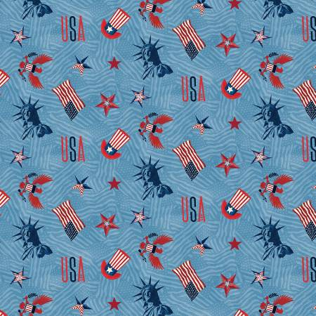 Blue Patriotic Toss - Liberty Lane by Wilmington Prints
