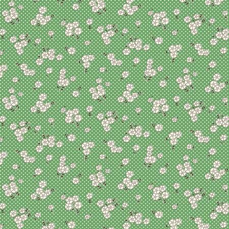 Marcus Aunt Grace Green Button Flowers & Dots 1930's Reproduction