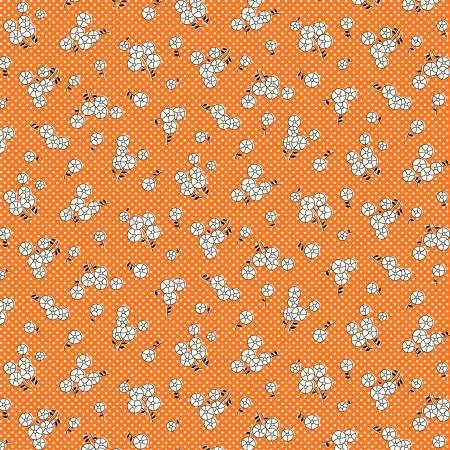 Marcus Aunt Grace Orange Button Flowers & Dots 1930's Reproduction