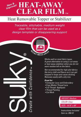 Sulky Heat-Away Stabillizer - Clear Film - 19 3/4'' X 1 yd. Pkg