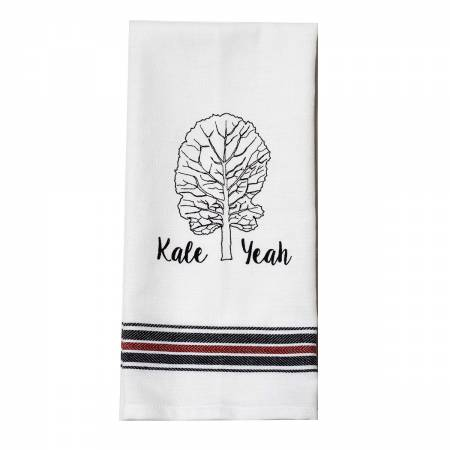 Appliqued Tea Towel Kale Yeah Tag and Hooked