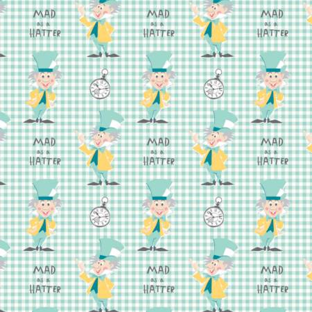 Turquoise Disney Alice in Wonderland Mad as a Hatter Fabric by the Yard
