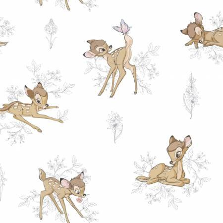 Bambi Toile on dk grey Disney