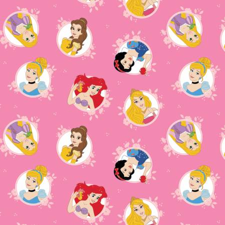 Pink Disney Princesses In Circles