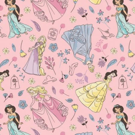 Camelot Fabrics Pink Disney Charming Princesses Flannel 85101501B 01