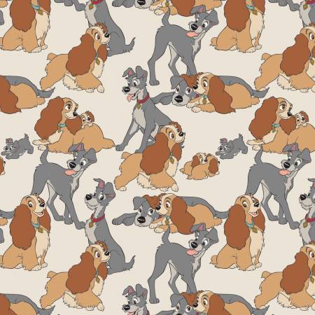 Disney Lady & the Tramp Perfect Fur Family on Cream Fabric by the Yard